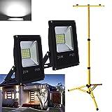 VINGO® 2X 20W LED Fluter Kaltweiß Baustrahler + Stativ Gelb Höhenverstellbar Außen Strahler Arbeitsscheinwerfer