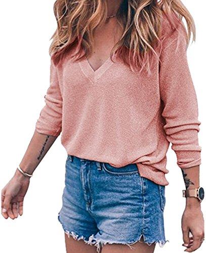 Meyison Damen V Ausschnitt Casual Shirts Knit Pullover Tops Rosa-S