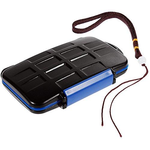 Anpro Speicherkarten Schutzbox mit 1 x Seil, Wasserdicht für Speicherkarte 8 x SDHC / SDXC / Micro-SD-Speicherkarten memory card,schwarz+blau