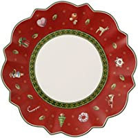 Villeroy & Boch 14-8585-2660 Assiette à Pain Rouge Toy's delight Arts de la Table de Noël Porcelaine Rouge 18 x 18 x 8 cm