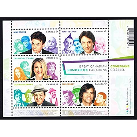 Jim Carrey, Martin Short, Olivier Guimond, Mike Myers, Catherine O'Hara Canadian Comedians Collectible Postage Stamps by Canada Post