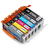 OfficeWorld Replacement for Canon PGI-570 CLI-571 Ink Cartridges PGI-570XL CLI-571XL 6 Color (Contain Grey) Compatible for Canon PIXMA TS8050 TS8051 MG7752 TS8052 MG7750 (NOT 7550) MG7751 TS9050