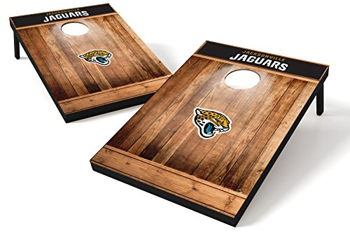 Wild Sports NFL Heckklappen-Toss aus Holz, Teamfarbe, Unisex, Jacksonville Jaguars Tailgate Toss - Brown Wood Design, Team Color, 2'x3'