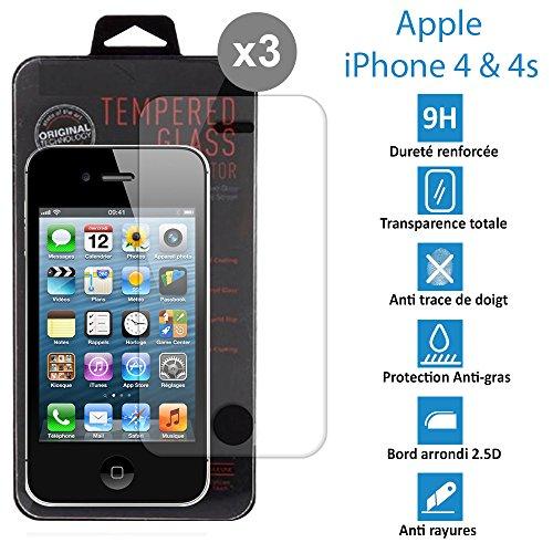 topaccs Apple iPhone 4 et 4s - [Lot de 3] - Véritable vitre en verre trempé ultra résistante - Protection écran