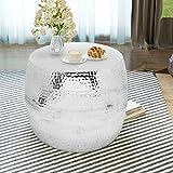 Festnight Aluminium Runde Couchtisch Kaffeetisch als Beistelltisch Nachttisch Telefonständer 53 x 42 cm Silberfarben