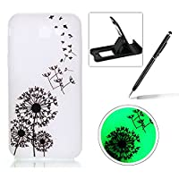 For Samsung Galaxy J3 2017 Silicone Case,Herzzer Creative Unique Stylish [Black Dandelions] Drawing Pattern [Night Luminous] Effect Fluorescent Glow In The Dark Ultra Slim Soft Silicone Gel TPU Rubber Back Cover for Samsung Galaxy J3 2017 + 1 x Black Cell
