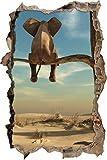 sitzender Elefant auf einem Ast in der Wüste Wanddurchbruch im 3D-Look, Wand- oder Türaufkleber Format: 92x62cm, Wandsticker, Wandtattoo, Wanddekoration