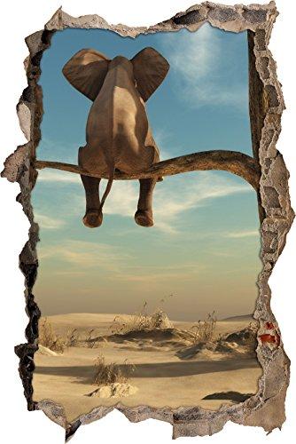 Wüste Natürlichen (sitzender Elefant auf einem Ast in der Wüste Wanddurchbruch im 3D-Look, Wand- oder Türaufkleber Format: 92x62cm, Wandsticker, Wandtattoo, Wanddekoration)