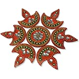 Handmade Elegantly Designed Red Rangoli - With Round Shaped Base And Diya Shape Design Decorated With Multicolour Stones - 7 Pieces Set