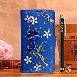 Locaa(TM) For Nokia Lumia 1020 Nokia1020 Lumia1020 Rosa 3D Bling Case Funda 3 IN 1 Accesorios Protector Phone Cover Cas Shell Caso Alta Calidad Piel Cuero Para Bumper [Rosa 1] Azul - Rosa Azul