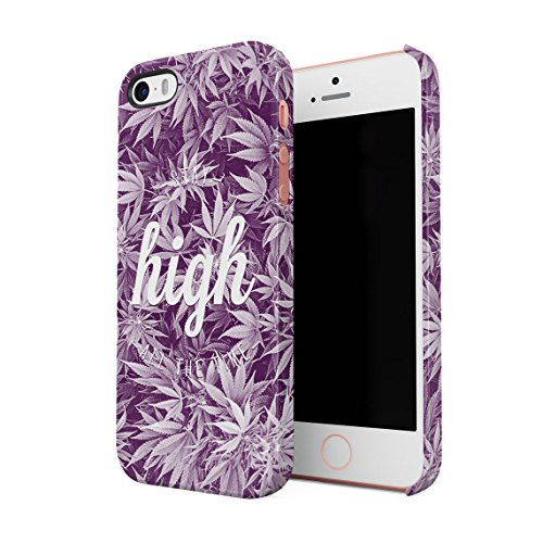 High As Fuck Trippy Blue Smoke Pattern Dünne Rückschale aus Hartplastik für iPhone 5 & iPhone 5s & iPhone SE Handy Hülle Schutzhülle Slim Fit Case cover Faded Stay High