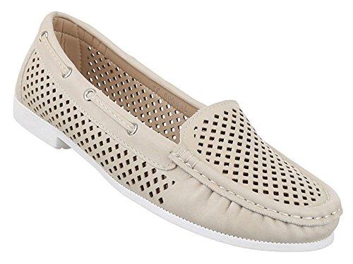 Damen-Schuhe Halbschuhe   moderne Freizeitschuhe mit Schnürung in verschiedenen Farben und Größen   Schuhcity24   Mokassins Ballerinas   Perforierter Stil Beige