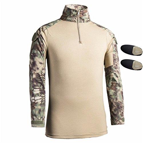 3accf5c7ceaa1 QCHENG Hombres Airsoft Militar Táctico Camisa Largo Manga Delgado Ajuste  Camuflaje Combate Camo Camisetas con Almohadillas