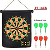 #10: EUPHORIC INC 2 Roll-up Magnetic Dart Board Set with Fabric Double Sided Hanging Dart Board with 6PCS Dart Flights (17 inch)