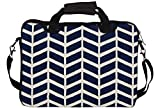 """Snoogg Navy White Line Waves 2502 15"""" 15.5"""" 15.6"""" inch Laptop Notebook SlipCase With Shoulder Strap Handle Sleeve Soft Case With Shoulder Strap Handle Carrying Case With Shoulder Strap Handle for Macbook Pro Acer Asus Dell Hp Sony Toshiba"""
