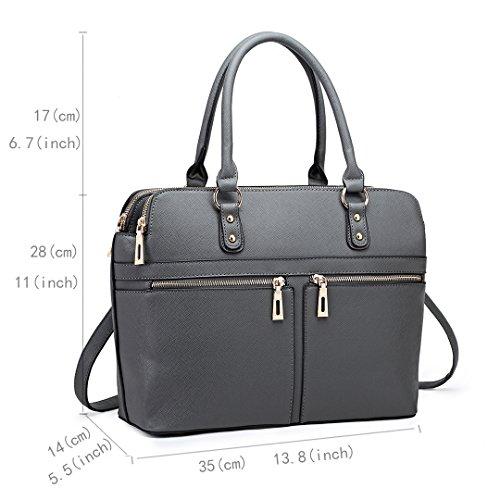 Miss LuLu Damen Handtasche Shopper Tasche Umhängetasche Tote Bag Schultertasche LT1706-Grau