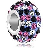 Pugster Damen-Beads Sale 925 Sterling Silber Rosa Farbe Licht Lila Massive Kugel European Charms für Pandora Armband