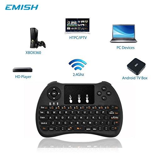 (2017Neues Modell) weiß Hintergrundbeleuchtung Mini Wireless Tastatur mit Touchpad Maus, USB wiederaufladbarer Lithium-Ionen-Akku Handheld Keybord für für Smart TV, Android TV Box, Laptop, xbox Gaming, PS4, PC, Schwarz - 2