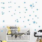 51 Unids/Set Estrella Extraíble Vinilo De Arte Mural Casa Dormitorios Decoración Niños Pegatinas De Pared Azul Claro