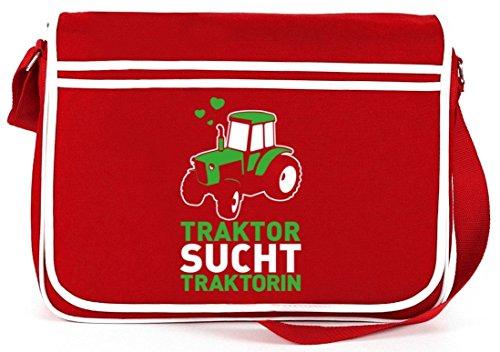 Lustige Retro Messenger Bag Kuriertasche Umhängetasche Traktor sucht Traktorin Rot