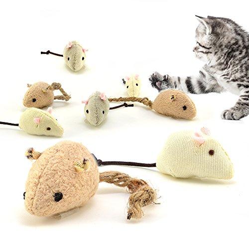 Spielmäuse 3er Set aus natürlichen Materialien, Katzenspielzeug Set mit Katzenminze, handgemacht