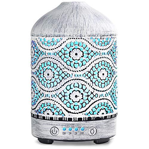 SALKING Aroma Diffuser Luftbefeuchter Humidifier, Handgefertigt Metall Diffusor für ätherische Öle, 7 Farbe Licht Vintage Elektronisch Nebel zur Aromatherapie für Zuhause Büro oder Yoga MEHRWEG