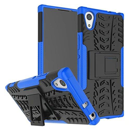 Schutzhülle Sony Xperia XA1 Ultra Hülle, Dual Layer Rüstung Kombination Stoßfest Heavy Duty Schild Harte Schale für Sony Xperia XA1 Ultra (Blau)