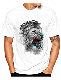 PRINCER The Crown of The Lion King Print T Shirt Men's Casual Round Collar Tops Slim Short Sleeve Summer Shirts Tees Clothes Blouse Plus Size 4XL