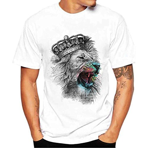 Price comparison product image PRINCER The Crown of The Lion King Print T Shirt Men's Casual Round Collar Tops Slim Short Sleeve Summer Shirts Tees Clothes Blouse Plus Size 4XL (White,  XL)