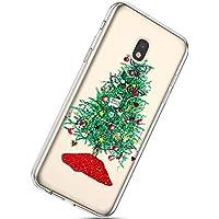 Handytasche Samsung Galaxy J7 2017 Weihnachten Hülle Clear Case Ultra Dünn Durchsichtige Silikon Kirstall Transparent Handy Hülle Bumper Cover Schutz Tasche Schale,Grün Weihnachtsbaum