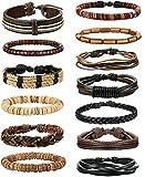 sailimue Schmuck 13-15PCS Leder Armbänder für Herren und Damen Holzperlen Armband Manschette Cords Elastisch