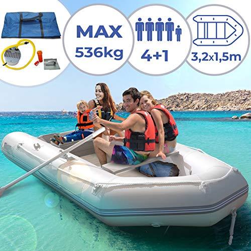 Schlauchboot für 4 Personen | 320 x 152 cm, mit 2 Alupaddel, Fußluftpumpe, bis 536 kg, mit Aluboden, für 4 Erwachsene und eventuell 1 Kind | Ruderboot, Paddelboot, Angelboot, Gummiboot, Sportboot