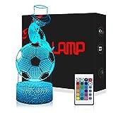 3D Fussball Mischfarbe Lampe LED Nachtlicht mit Fernbedienung, USlinsky 7 Farben Dimmbare Touch Schalter Nachtlampe Geburtstag Geschenk, Frohe Weihnachten Geschenke Für Mädchen Männer Frauen Kinder