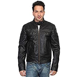 Bareskin mens black leather slim-fit moto jacket(VNGJ_152_M_Black_Medium)