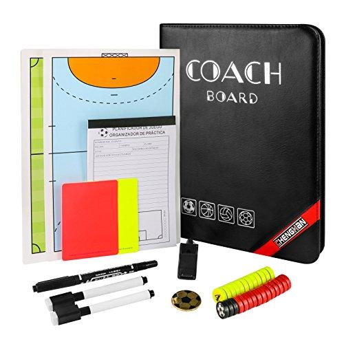 Tactic Coach Clipboard - für Fußball Basketball - mit Taktikkarten, Fußballmünze, Pfeife, Warnkarten, Wertungsliste, löschbaren Markierstiften, Filzstift und Tragetasche ()