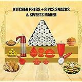 Trackindia Combo Of Plastic Kitchen Magic Press With 8 Kitchen Tools (Kachori Maker, Samosa Maker, Gujiya Maker, 2 Ladoo Maker, Modak Makers, Pestry Cuttee, Stainless Steel Menduwada Maker)