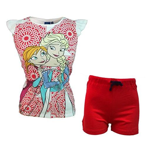 Disney completo bambina/ragazza mezza manica corto in cotone frozen art. 5944 (rosso, 10 anni)