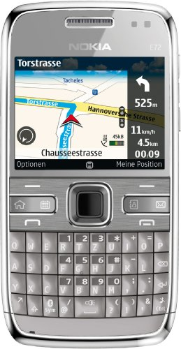 Nokia E72 Navi Smartphone (5,8 cm (2,3 Zoll) Display, Bluetooth, 5 Megapixel Kamera, QWERTZ-Tastatur) grau E72 Smartphone