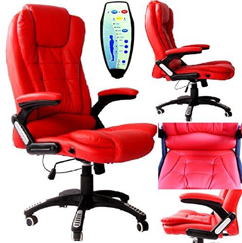 Büro Deluxe Liegekomfort Luxus Leder Executive 6Point Massage Bürostuhl PU Leder mit 360° Drehbar und Höhe Anpassung rot