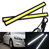WEKSI Tagfahrlicht 2 Stück 6W 6000K Xenon Weiß LED COB Auto Streifen DRL Tagfahrlicht Licht Nebel Lampe Beleuchtung Wasserdicht 12V