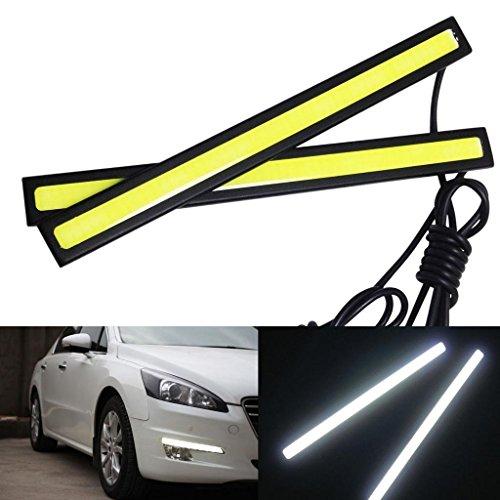 WEKSI Tagfahrlicht 2 Stück 6W 6000K Xenon Weiß LED COB Auto Streifen DRL Tagfahrlicht Licht Nebel Lampe Beleuchtung Wasserdicht 12V Test