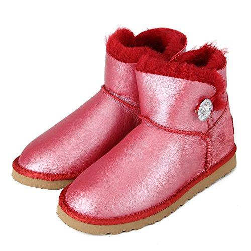 Shenduo - Boots fourrées femme cuir de mouton, Bottes de neige courtes doublure chaude en laine D5096 Rouge