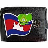 Cambodge Drapeau Carte KLASSEK Portefeuille Homme Porte Monnaie. Cambodgien Armoiries Cuir Noir Véritable Kampuchea Cadeau Présente Avec Boîte en Métal