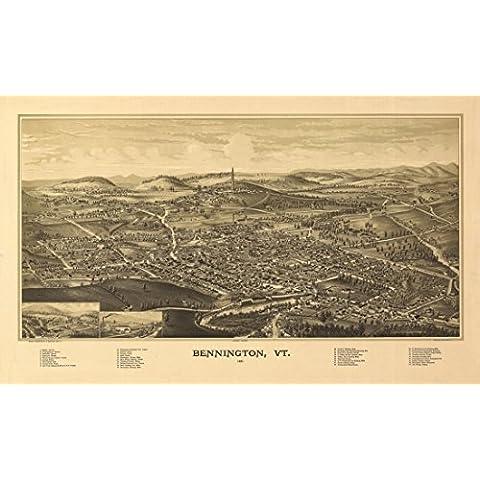 Old Map of Bennington Vermont 1887 Bennington County Artistica di Stampa (60,96 x 91,44 cm)