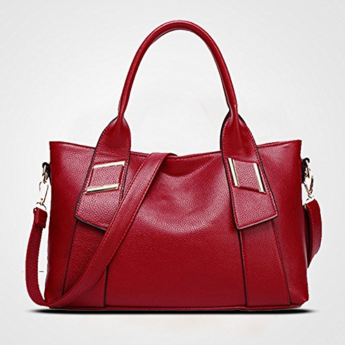 Www Ladies New Large Bag Fashion Satchel Bag Tote Red
