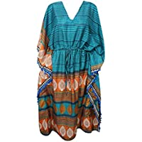 Mogul Interior Womens Maxi Kaftan Teal Blue Printed Tassel Resort Wear Caftan One Size