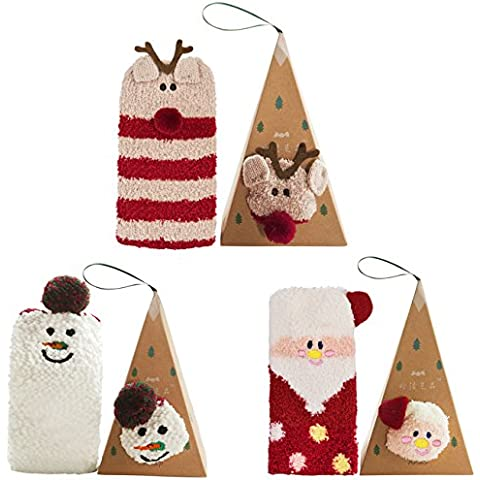 Coxeer Navidad Calcetines Damas Medias para Navidad Regalo Calcetines para Adultos (3 Pair Kombinationen)