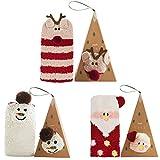 Calze di Natale 3 pezzi,Coxeer Calzini Donna Calzini Colorati per Natale Set Regalo con Scatola Regalo di Natale