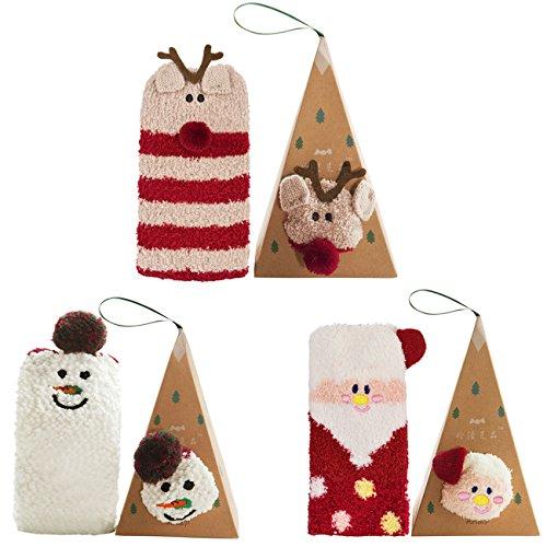 Coxeer Calze di Natale 3 pezzi, Calzini Donna Calzini Colorati per Natale Set Regalo con Scatola Regalo di Natale