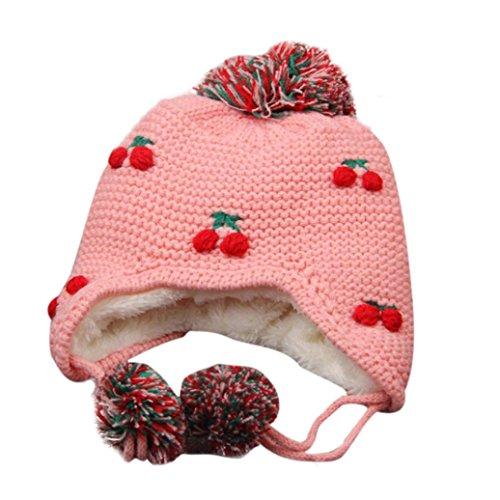 Culater® Inverno bambino Earflap caldo del ragazzo della ragazza Knit Hat Peach (Rosa)
